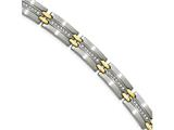Chisel Stainless Steel Brushed and Polished Yellow Ip Cz 8.75in. Link Bracelet style: SRB2050875