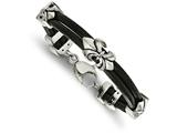 Chisel Stainless Steel Polished Antiqued Fleur De Lis Black Leather Bracelet style: SRB205185