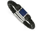 Chisel Stainless Steel Polished Blk and Blue Ip Blk Rubber Blk Leather Bracelet style: SRB205885