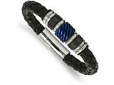 Chisel Stainless Steel Brushed/polished Blk Ip Blue Ip Blk Rubber Blk Leather Bracelet style: SRB206485