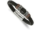 Chisel Stainless Steel Polished/antiqued Blk Ip Brown Ip Blk Rubber Blk Leather Bracelet style: SRB206585