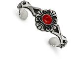 Chisel Stainless Steel Polished/antiqued Flower Red Glass Cuff Bracelet style: SRB2069