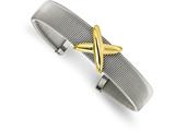 Chisel Stainless Steel Polished Textured Yellow Ip-plated Bangle style: SRB2095
