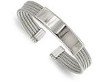 Chisel Stainless Steel Polished And Textured Engraveable Cuff Bangle style: SRB2100