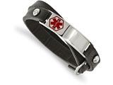 Chisel Stainless Steel Polished Enamel Leather Wrap Medical Adj Bracelet style: SRB2102