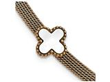 Chisel Stainless Steel Rose Ip-plated Mop Clover 1.5in Ext. Mesh Bracelet style: SRB210765