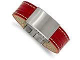 Chisel Stainless Steel Brushed Red Leather 8in Id Bracelet style: SRB21208