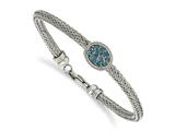 Chisel Stainless Steel Polished And Textured Blue Crystal Bracelet style: SRB212275