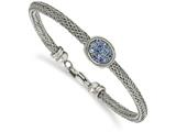Chisel Stainless Steel Polished And Textured Blue Crystal Bracelet style: SRB212375