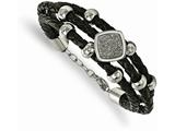 Chisel Stainless Steel Polished W/druzy And Crystal Leather W/.75in Ext. Bracelet style: SRB21257