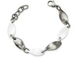 Chisel Stainless Steel And White Ceramic Polished Bracelet style: SRB2127775