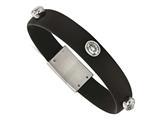 Chisel Stainless Steel Polished CZ Silicone Weeding Band Bracelet style: SRB2129