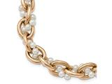 Chisel Stainless Steel Polished Rose Ip-plated and Faux Pearl W/1.5in Ext. Bracelet style: SRB21338