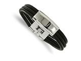 Chisel Stainless Steel Polished Blk Leather Id Bracelet style: SRB21368