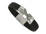 Chisel Stainless Steel Polished CZ Silicone Weeding Band Bracelet style: SRB2137