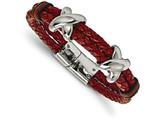 Chisel Stainless Steel Polished Red Leather And Rubber Bracelet style: SRB21408