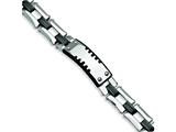 Chisel Stainless Steel Black Carbon Fiber and Plating ID Bracelet - 9.25 inches