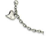 Chisel Stainless Steel Cz Heart Charm Fancy 7.5in Bracelet style: SRB26475