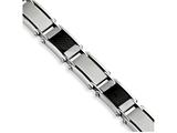 Chisel Stainless Steel Black Carbon Fiber Brushed and Polished 8.75in Bracelet style: SRB2809