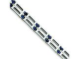 Chisel Stainless Steel and Blue Ceramic Fancy Link Bracelet - 8.75 inches
