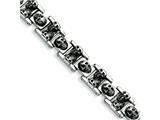 Chisel Stainless Steel Skull Bracelet - 8 inches style: SRB356