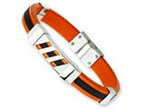 Chisel Stainless Steel Black and Orange Rubber Bracelet - 8 inches style: SRB357