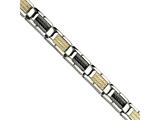 Chisel Stainless Steel  Black Ip-plated Wire And 14k 8.5in Bracelet style: SRB40985