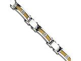 Chisel Stainless Steel Yellow Ip-plated Cable With CZs Bracelet style: SRB42285