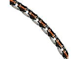 Chisel Stainless Steel Black and Orange Rubber 8.5in Bracelet style: SRB46985
