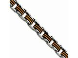Chisel Stainless Steel Black and Orange Polyurethane 8.5in Bracelet style: SRB471875