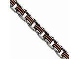 Chisel Stainless Steel Black and Orange Polyurethane 8.5in Bracelet style: SRB471875