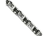 Chisel Stainless Steel Black Rubber Brushed and Polished 8.5in Bracelet style: SRB48085