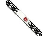 Chisel Stainless Steel Black Rubber Red Enamel 8.25in Medical Bracelet style: SRB548825