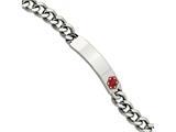 Chisel Stainless Steel Red Enamel 9.5in Medical Bracelet style: SRB55795
