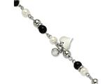 Chisel Stainless Steel Onyx/fw Cultured Pearl/crystal 8in Bracelet style: SRB5768