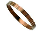 Chisel Stainless Steel Polished Brown Ip Plated W/ Czs Bangle style: SRB589