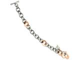 Chisel Stainless Steel Rose Ip-plated W/ Hearts 7.5in Bracelet style: SRB59175