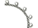 Chisel Stainless Steel Polished Hearts 8in Bracelet style: SRB5988