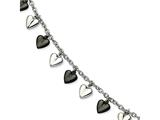 Chisel Stainless Steel Black Ip-plated and Polished Hearts Bracelet style: SRB59975