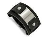 Chisel Stainless Steel Black Leather 10in Adjustable W/buckle Bracelet style: SRB72610