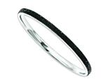 Chisel Stainless Steel Black Crystal Rounded Bangle style: SRB771