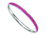 Chisel Stainless Steel Pink Crystal Rounded Bangle style: SRB773