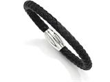 Chisel Stainless Steel Black Leather 8.5in Bracelet style: SRB77785