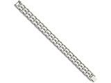 Chisel Stainless Steel Double Row White Ceramic 8.25in Bracelet style: SRB799825