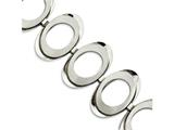 Chisel Stainless Steel Brushed and Polished Circles 7.75in W/ 1in Ext Bracelet style: SRB806775