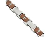 Chisel Stainless Steel Brown Ip-plated Laser Cut Crosses 8.75in Bracelet style: SRB828CP875