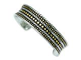 Chisel Stainless Steel Antiqued and Yellow Ip Plated Cuff Bangle style: SRB854