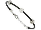 Chisel Stainless Steel Cz Stars Black Ip Plated Wire 7.5in W/ext Bracelet style: SRB85975