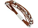 Chisel Stainless Steel Polished Beads and Brown Leather 7.5in Bracelet style: SRB86875