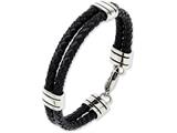 Chisel Stainless Steel Black Leather 9in Bracelet style: SRB8699